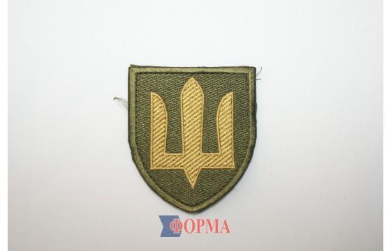 Шеврон тризуб  Сухопутные войска ВСУ желтая нить,олива