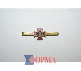 Зажим для галстука металлический (малиновый крест)
